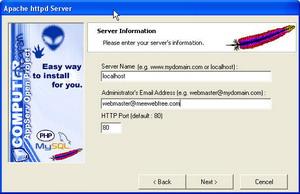 5. กรอกข้อมูล Server Name  แนะนำว่า Default เป็น localhost