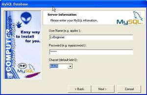 6. กำหนด Username และ Password ในการเข้าใช้งาน Mysql